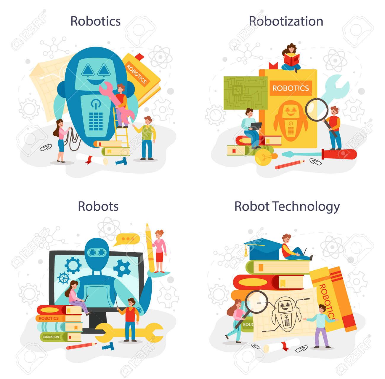 Robotics school subject concept set. Robot engineering and programming - 168002210
