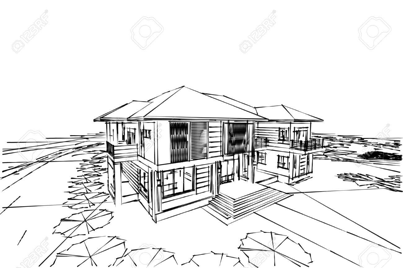 Architecture Abstract 3d IllustrationArchitecture Drawing Asian House Stock Photo