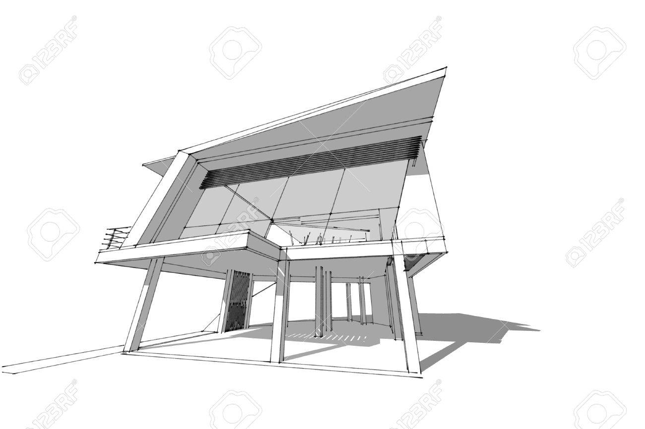 Architecture abstract 3d illustrationarchitecture drawing asian modern house stock illustration 60143027