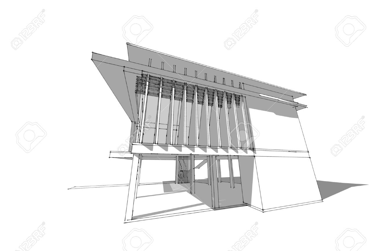 Architecture abstract 3d illustrationarchitecture drawing asian modern house stock illustration 60143028