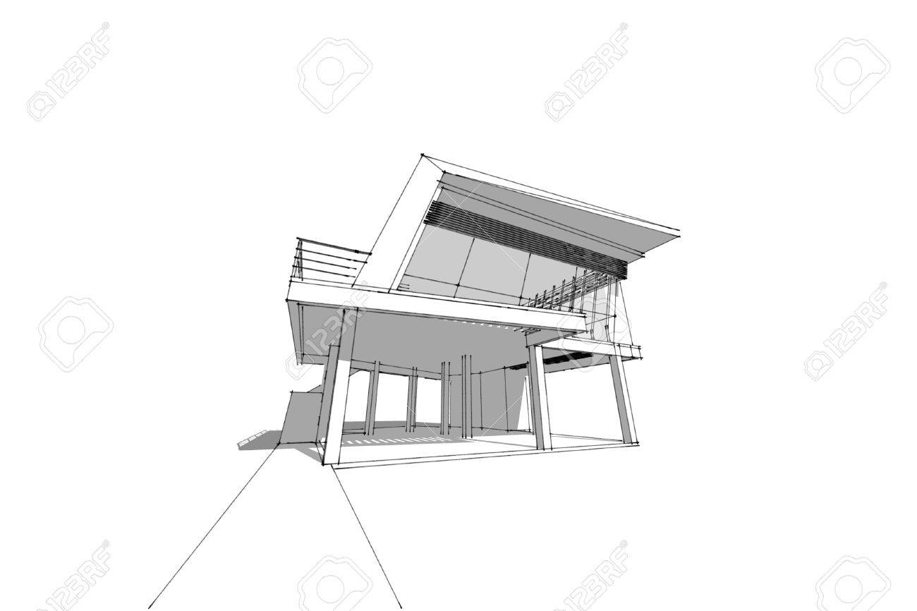 Architecture abstract 3d illustrationarchitecture drawing asian modern house stock illustration 60143029