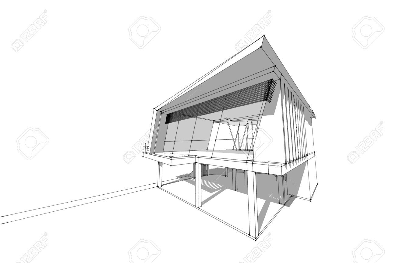 Architecture Abstraite Illustration 3d Architecture Dessin Maison Moderne  Asiatique Banque Dimages