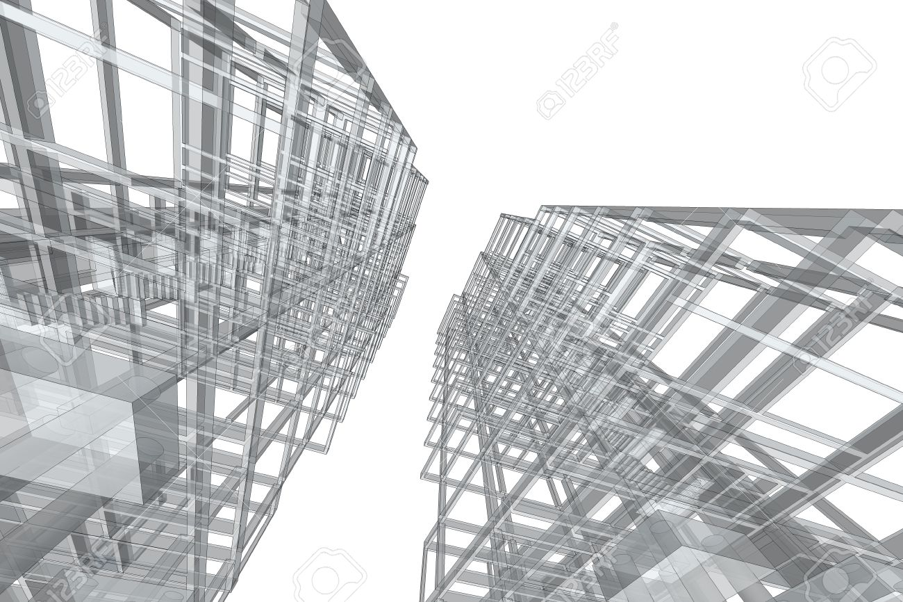 Architecture AbstractArchitecture Drawinghigh Rise Building Structure Stock Photo