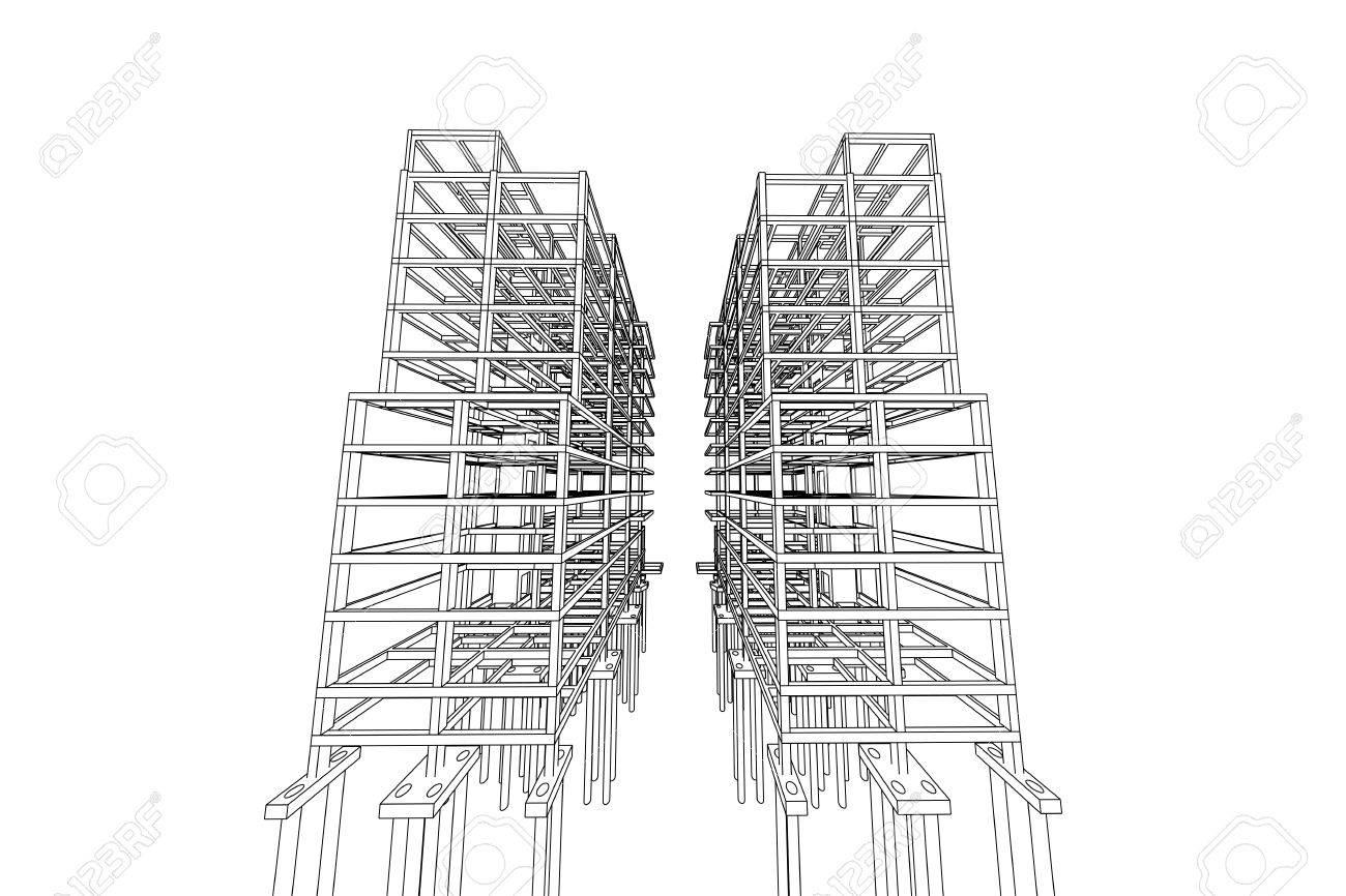 Architektur Abstrakt 3D Darstellung Hochhaus Gebaudestruktur Standard Bild
