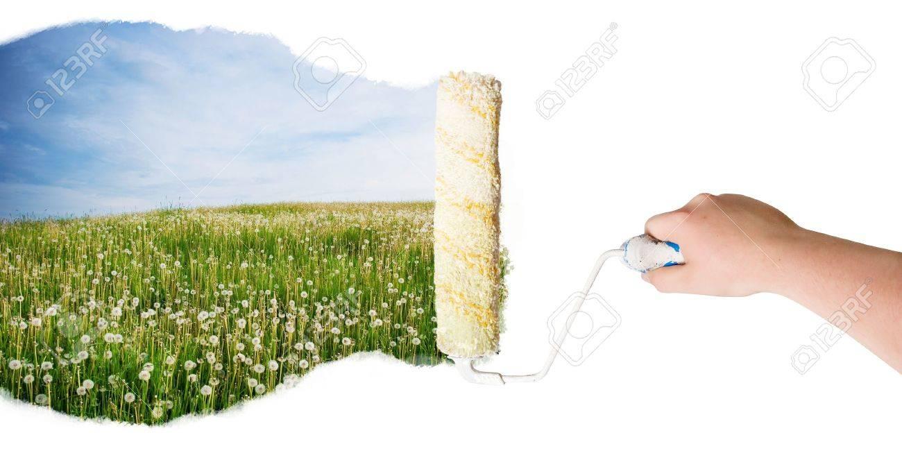 Roller paint nature landscape Stock Photo - 8035394