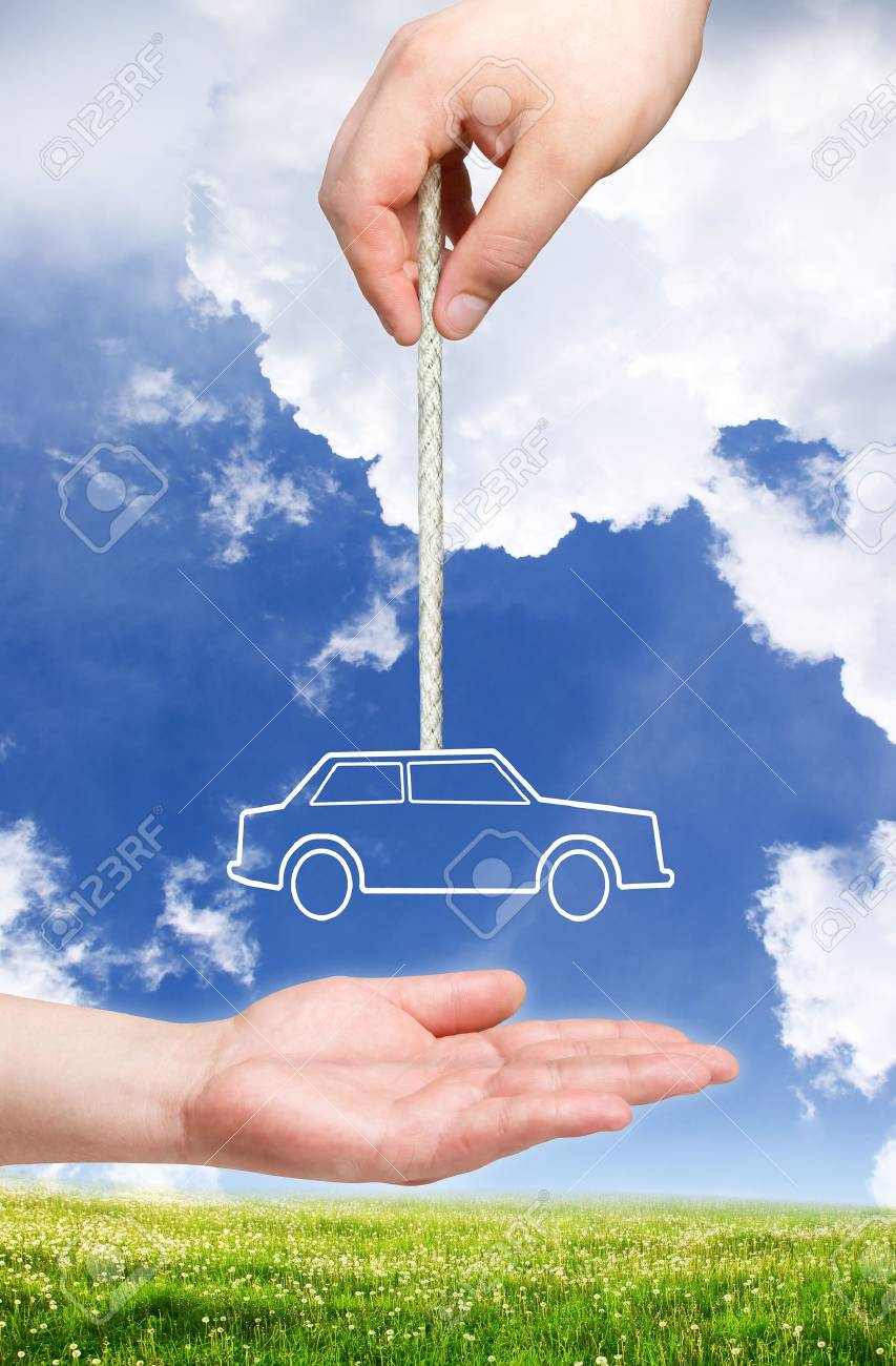 new car concept. Car on the rope Stock Photo - 8417612