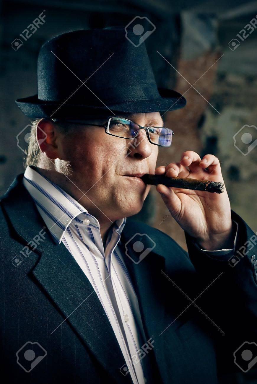 mafia boss with cigar Stock Photo - 8928880