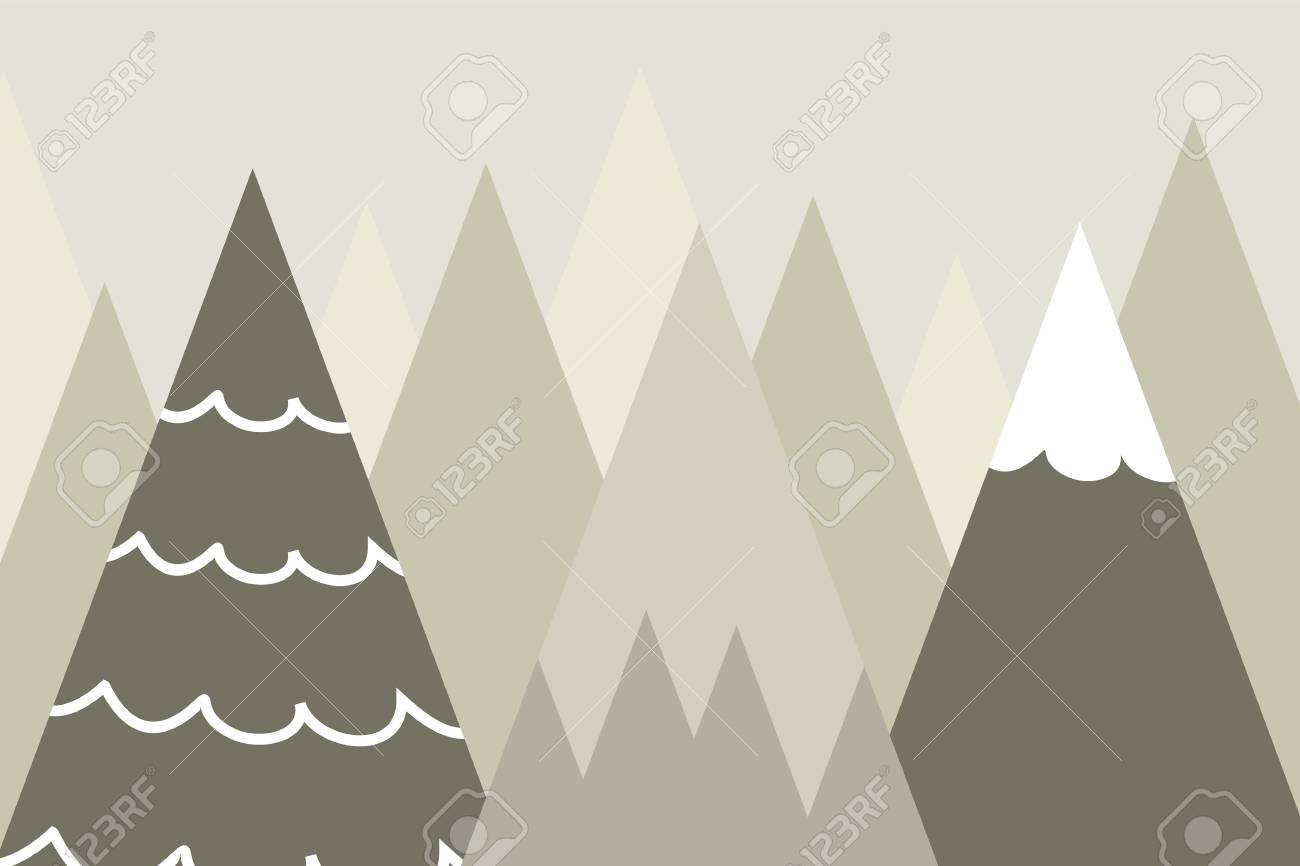 Graphic Illustration For Kids Room Wallpaper With Mountain Background