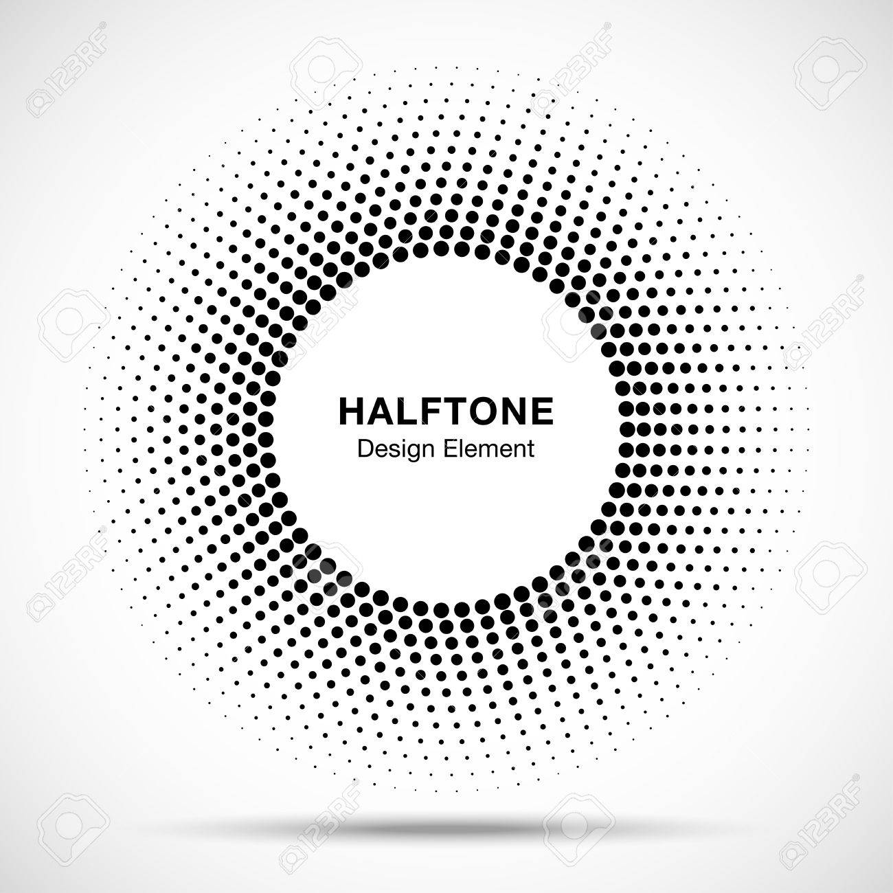 Black Abstract Circle Frame Halftone Dots Logo Design Element