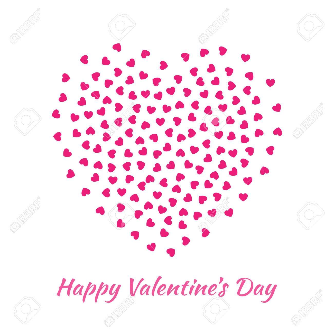 Abstract Vector Elegant Heart With Small Pink Hearts For Valentines ...
