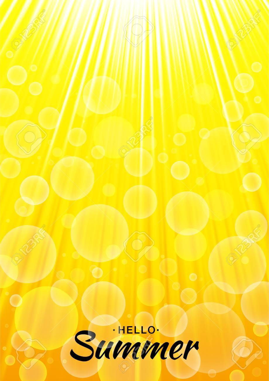 summer template vector yellow glow background with sun rays and