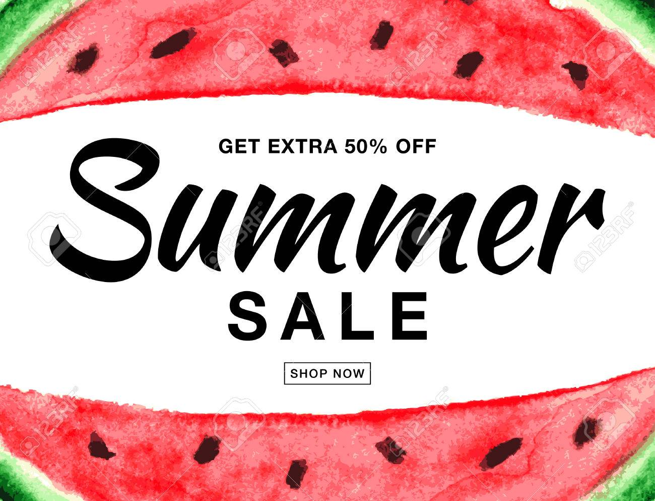 summer sale template vector banner with watercolor watermelon