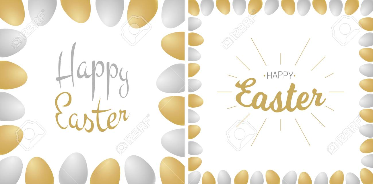 Easter Greetings Card Gold Silver Typographic Calligraphic