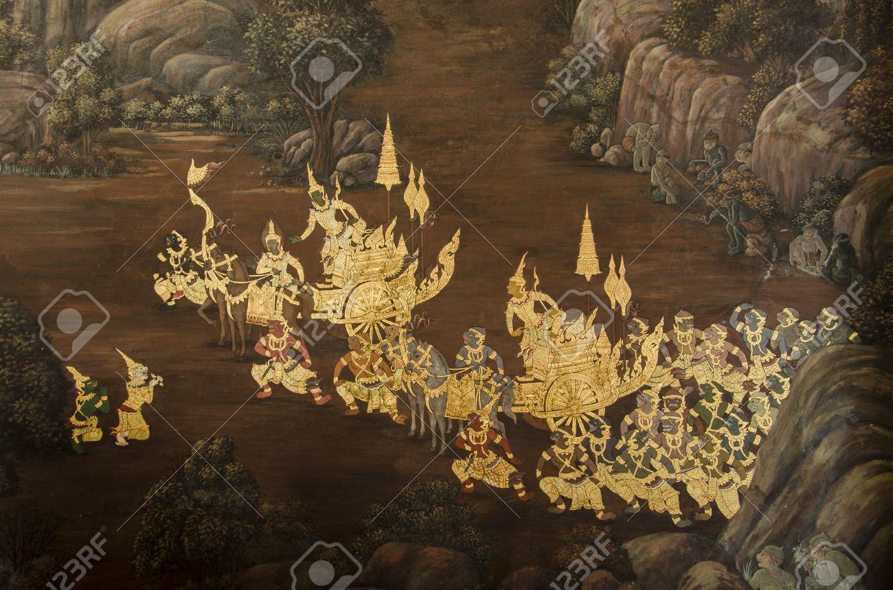 a scene from the ramakien on emerald buddha temple s wall wat a scene from the ramakien on emerald buddha temple s wall wat phra kaew bangkok