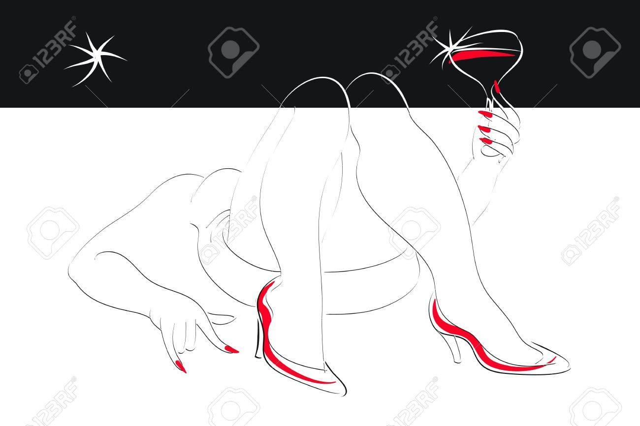 Lounge Sessel Für öffentliche Warte Und Aufenthaltsbereiche U2013 2014, Möbel.  Liegend: Liegende Frau Mit Einem Glas Wein In Der Hand