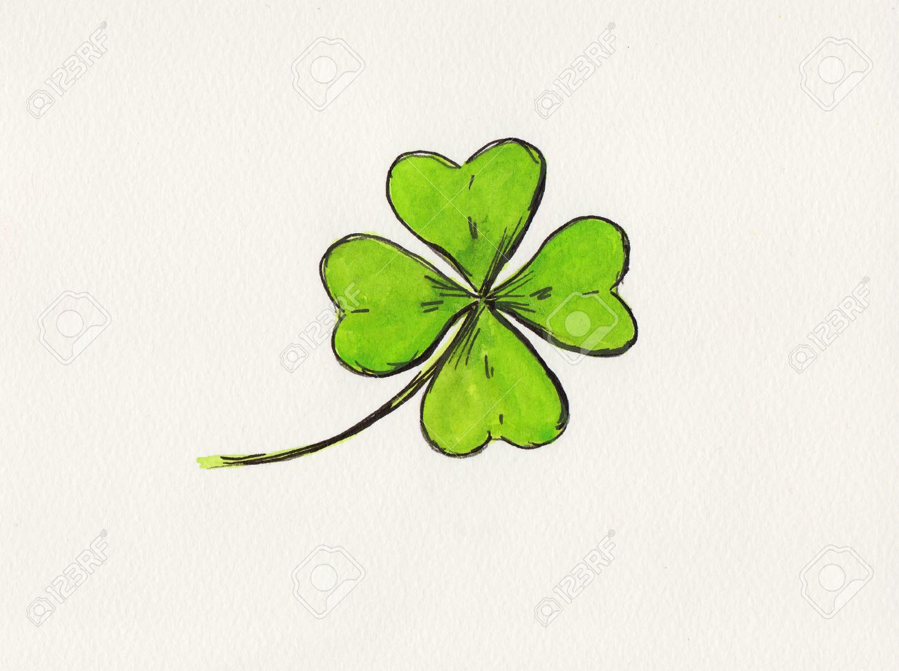 four leaf clover drawing stock photo 28100798