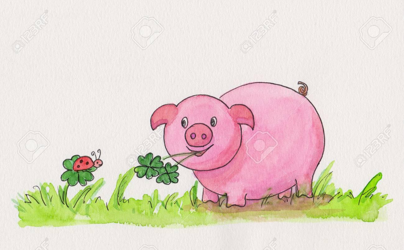 Neujahr Handgemachten Aquarellmalerei Mit Schwein Klee Und