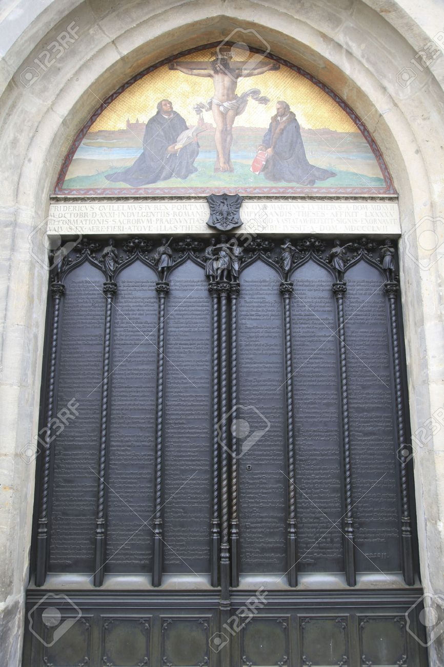 Decorating martin luther church door photos : Iron Door Of The All Saints Church In Wittenberg Germany With ...
