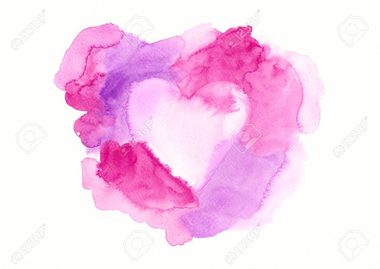 Pink And Purple Framed Heart Watercolor Painting Stock Photo ...