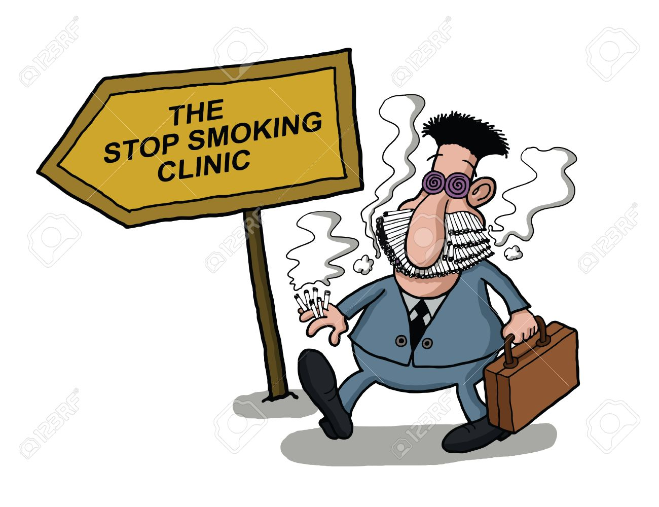 A man goes to a smoking clinic with her mouth full of cigarettes Stock Vector - 21636046