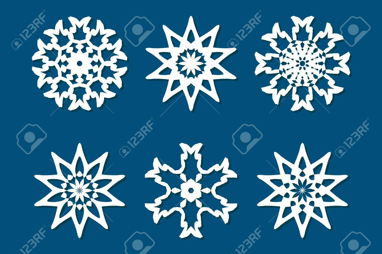 snowflake set laser cut pattern for christmas paper cards wood