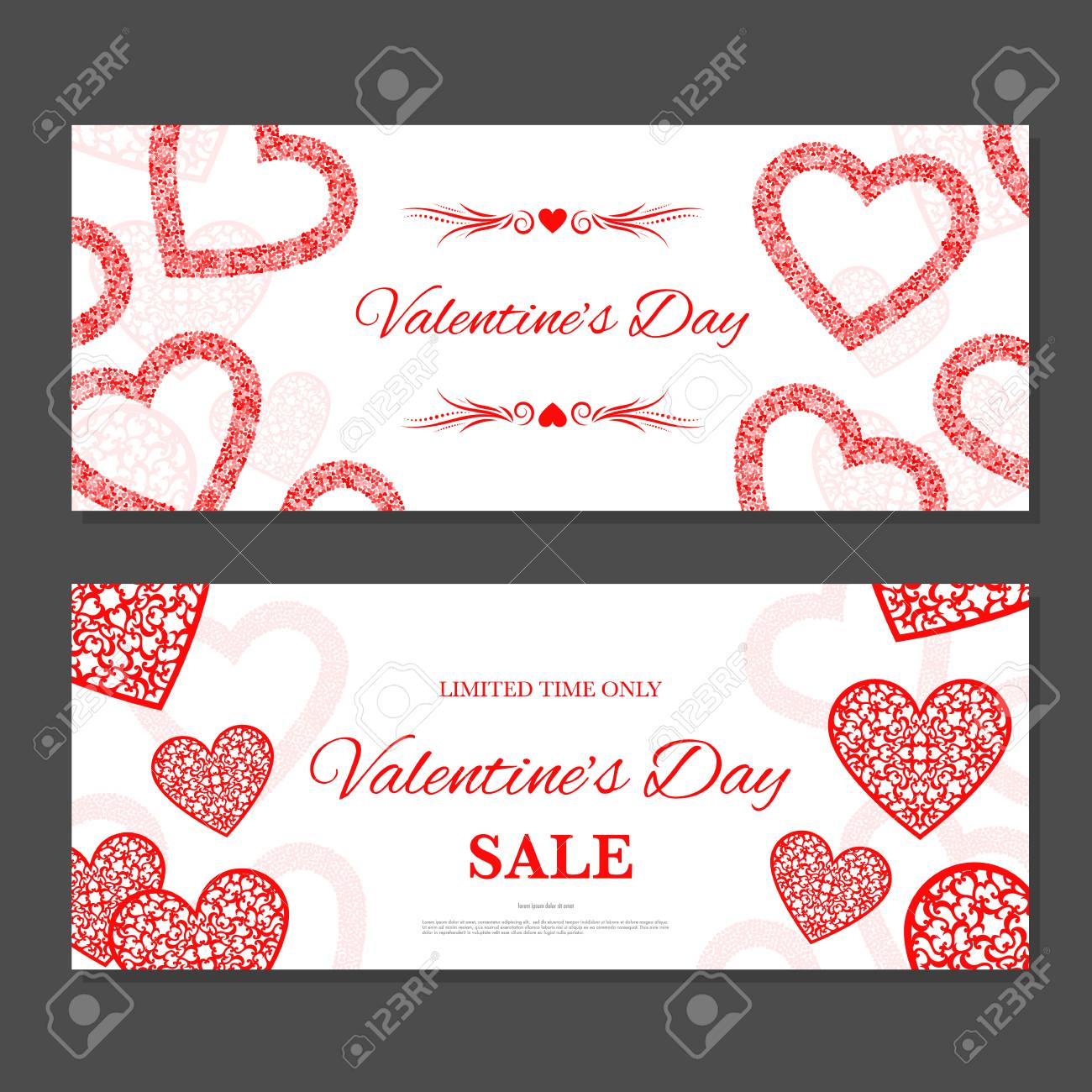 Valentine S Day Gift Coupon Gift Voucher Template With Red Hearts