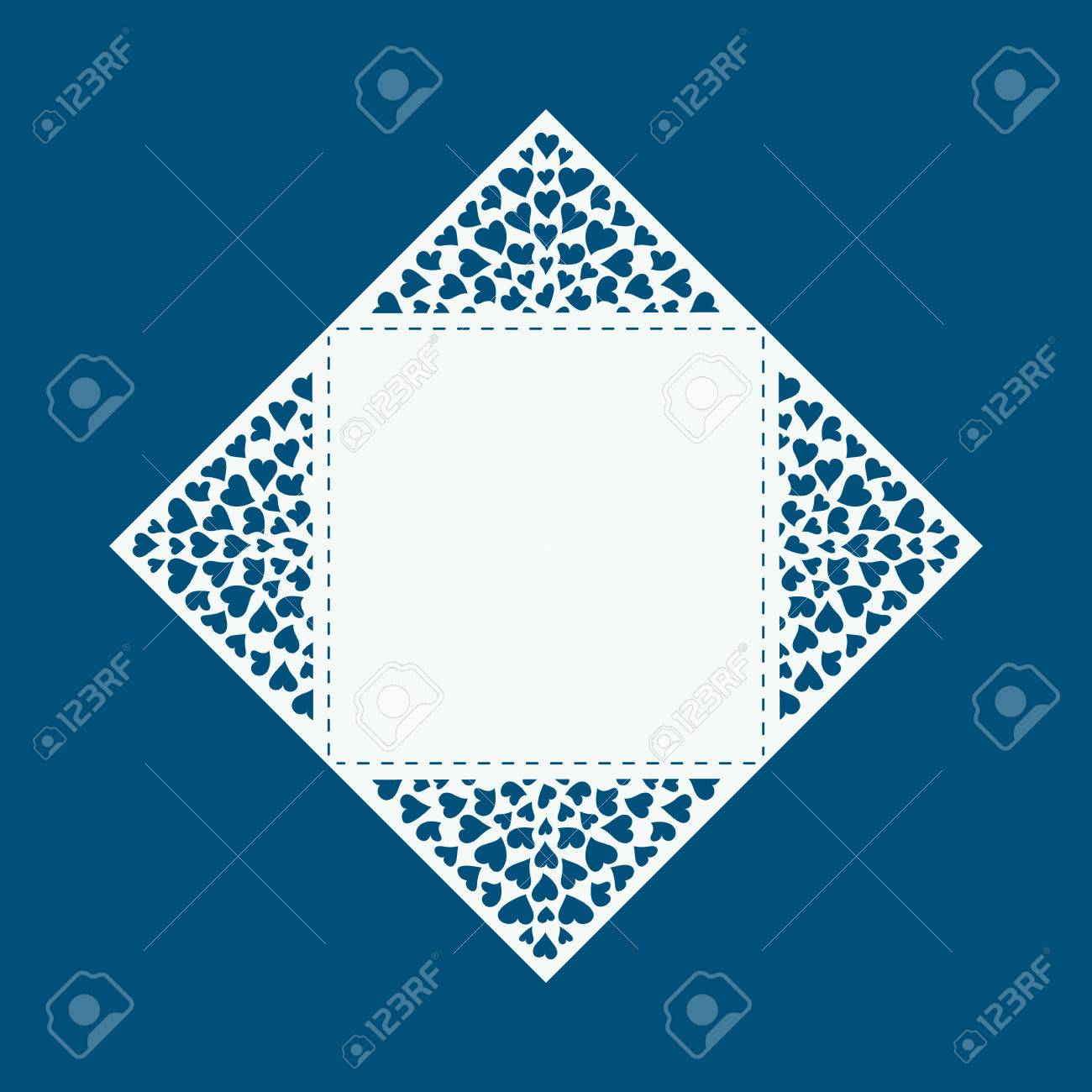 Laser Cut Card With Hearts Laser Cutting Template For Diy