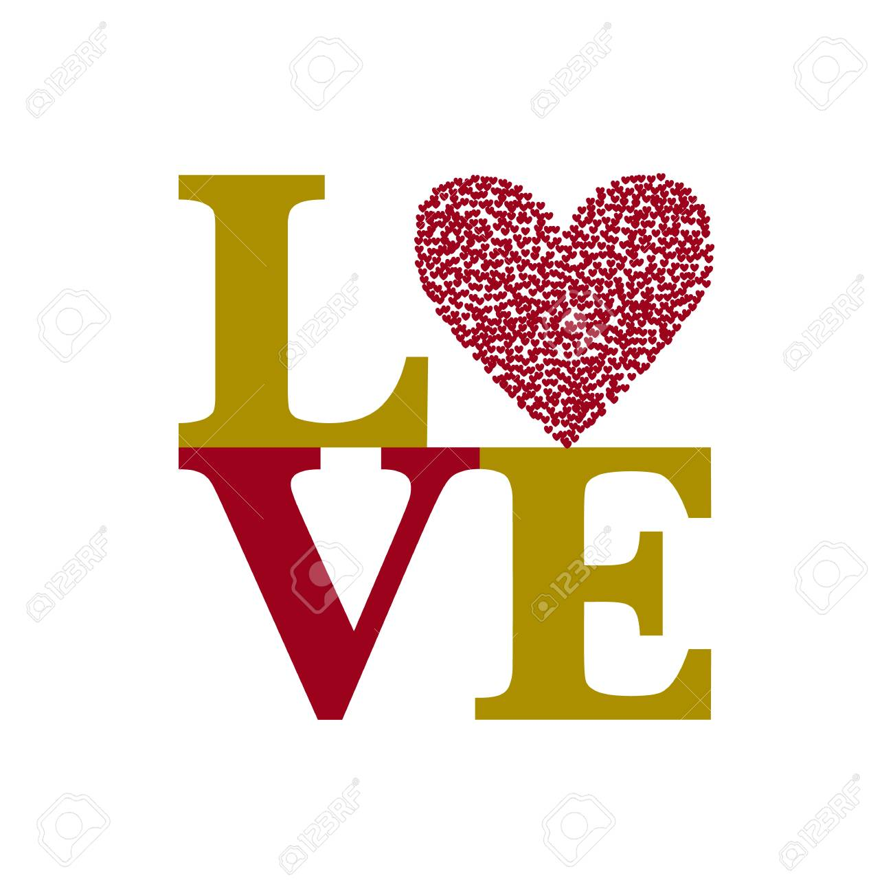 Glückliche Valentinstagkarte Mit Text LIEBE Und Rotes Herz. Schriftart  Standard Bild   70734077