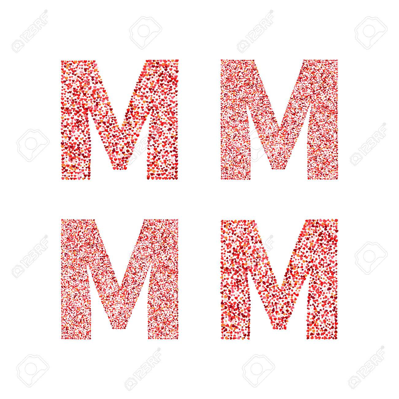Alphabet letter M with red heart on Valentine's Day  Valentine`s