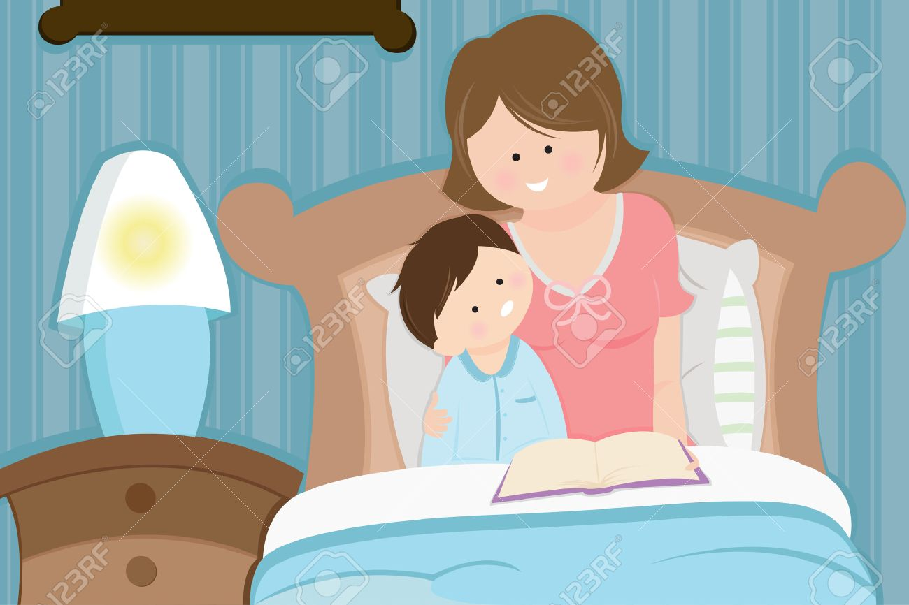 A mother reading a bedtime story to her son Stock Vector - 8014194