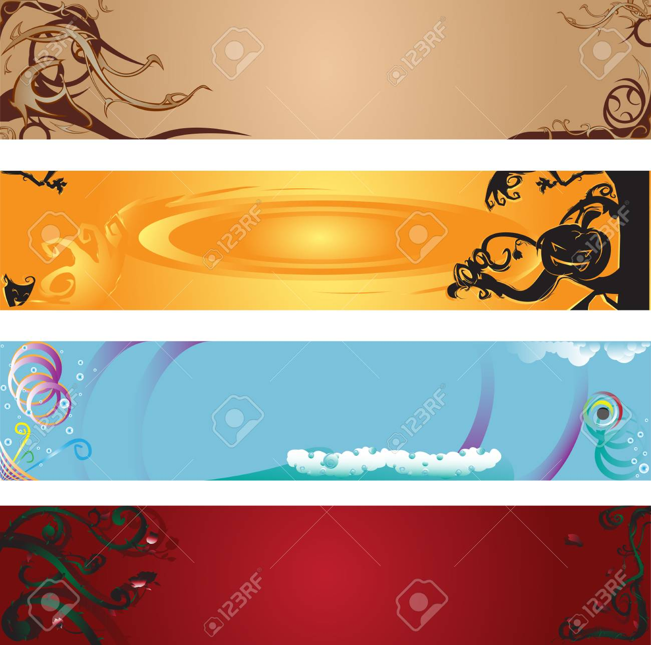 illustrations of beautiful web banners Stock Vector - 8199277