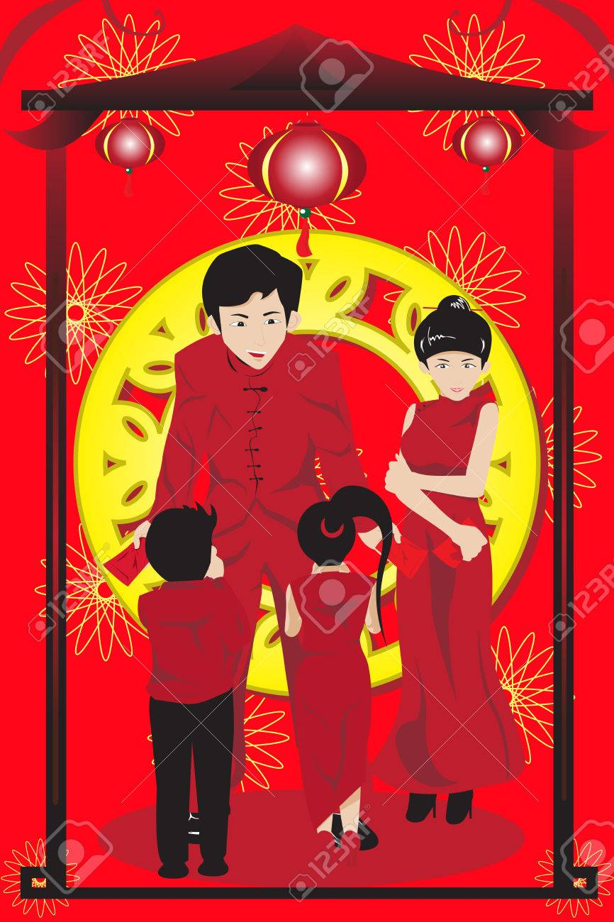 illustration of Asian parents giving their children red envelopes(hongbao) celebrating Chinese New Year Stock Vector - 8420286
