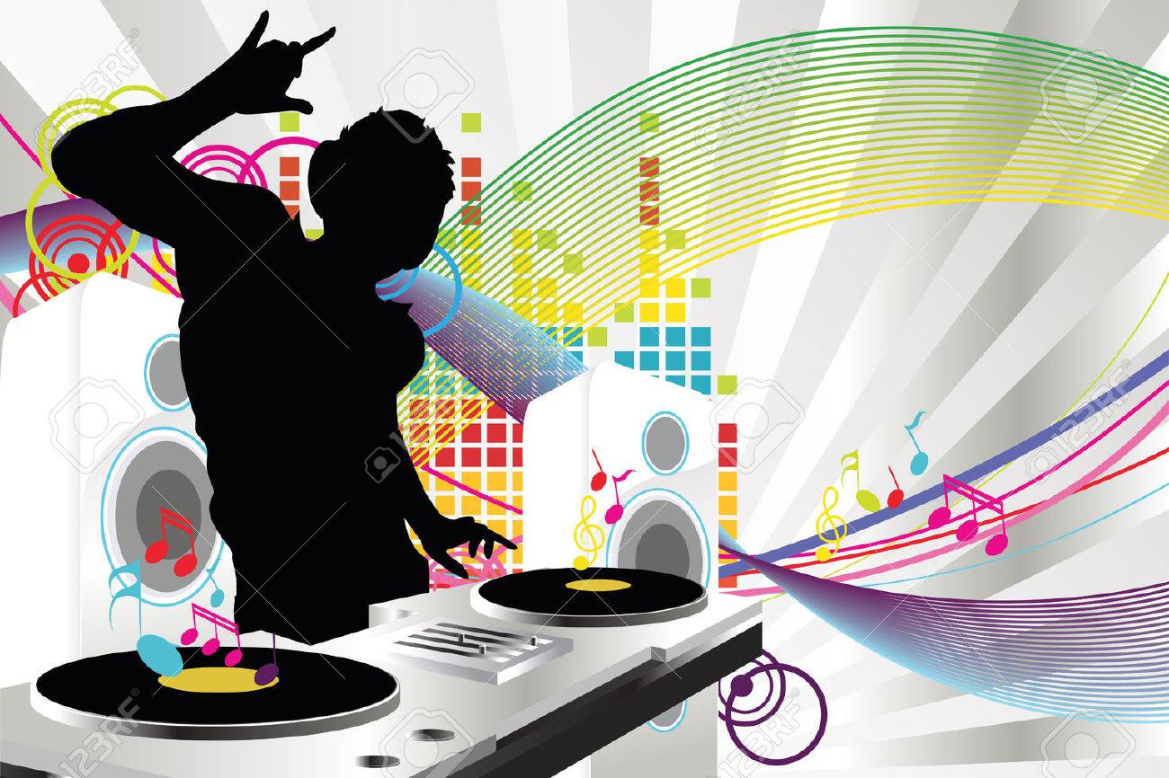 A vector illustration of a music DJ playing music Stock Vector - 8831155