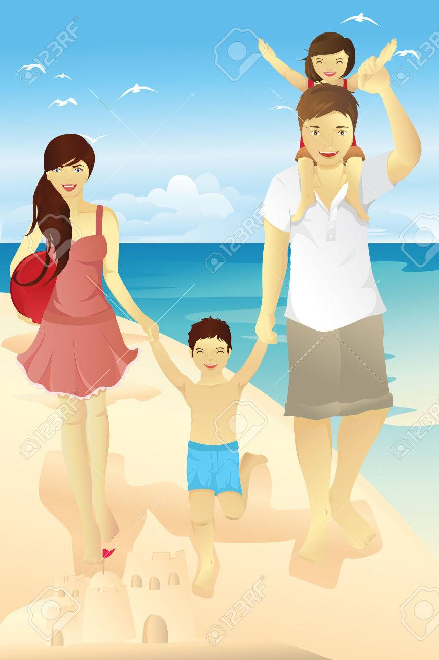 A Vector illustration of a family spending time on the beach Stock Vector - 8716361