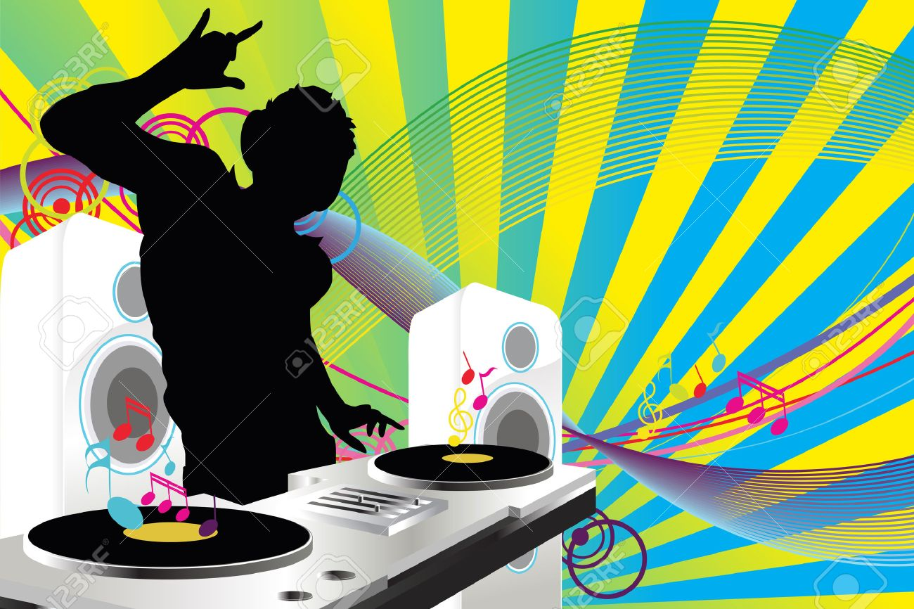 A Vector illustration of a music DJ playing music Stock Vector - 8845614