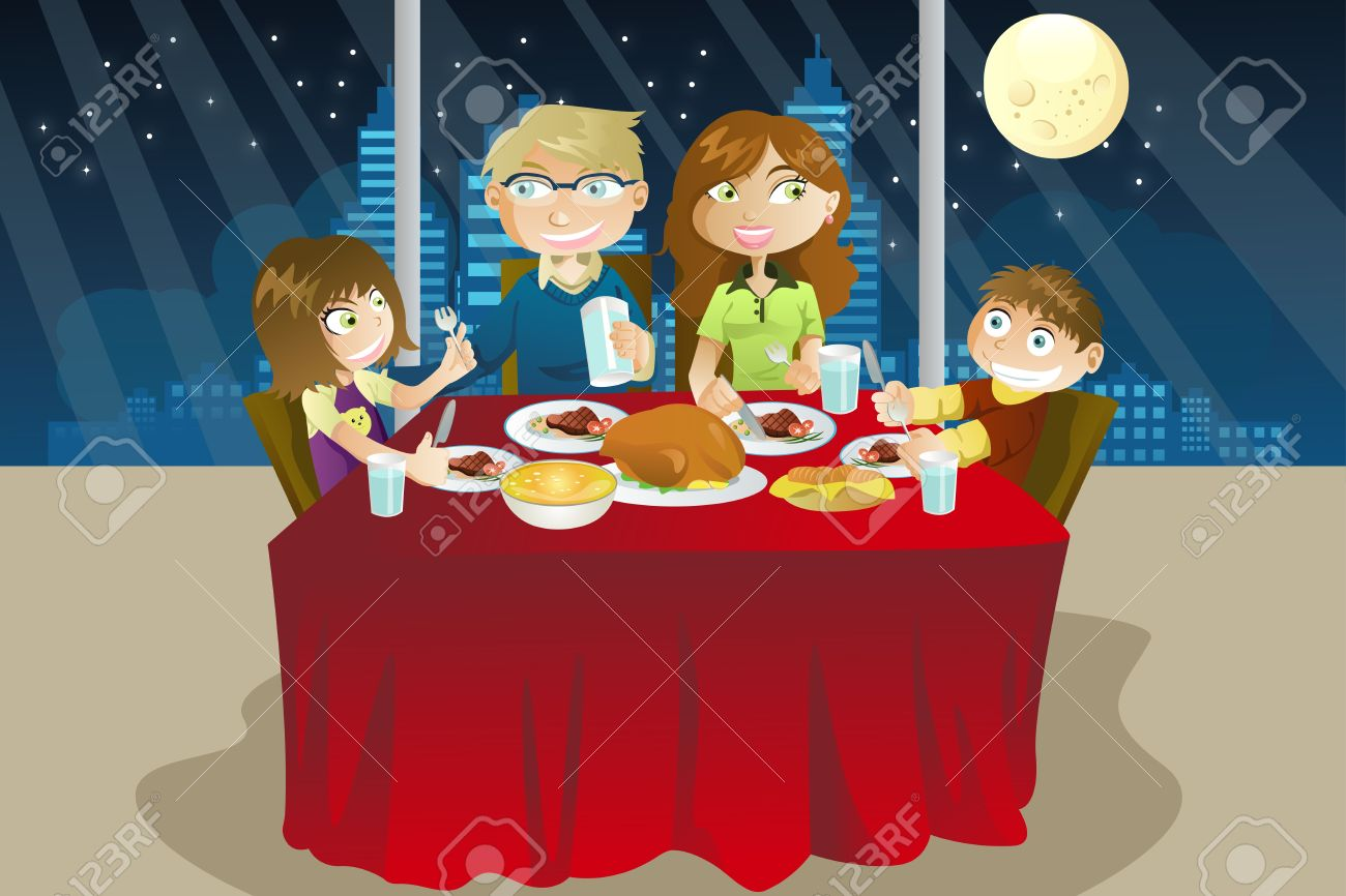 A Vector Illustration Of Family Eating Dinner Together Stock