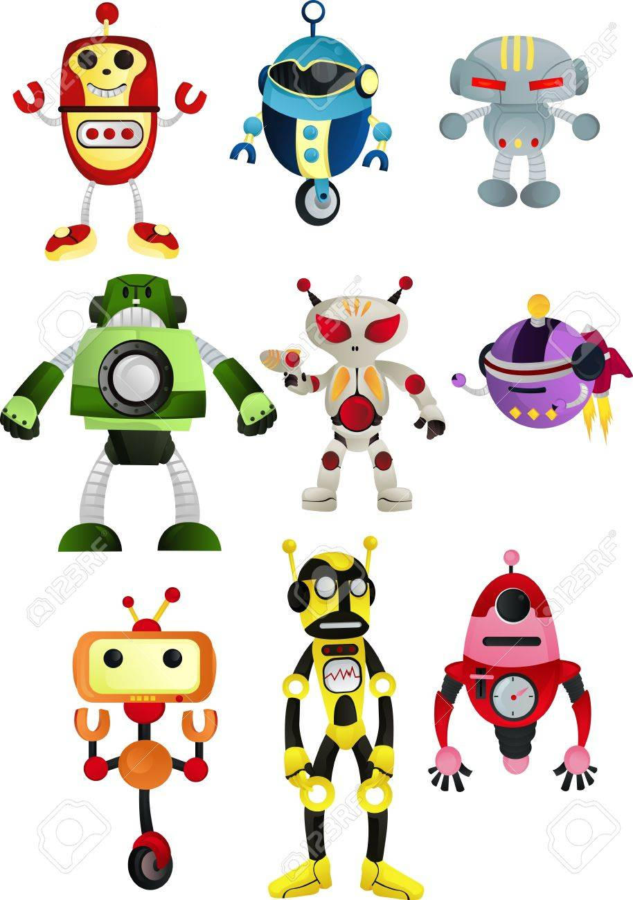 illustration of a set of robots Stock Vector - 9295633