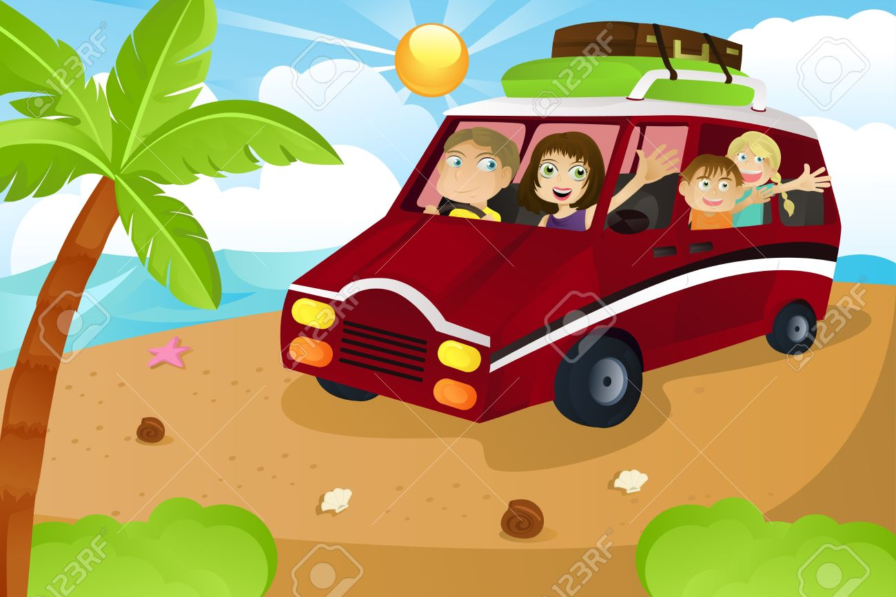 A family riding a van leaving for summer vacation Stock Vector - 9399499