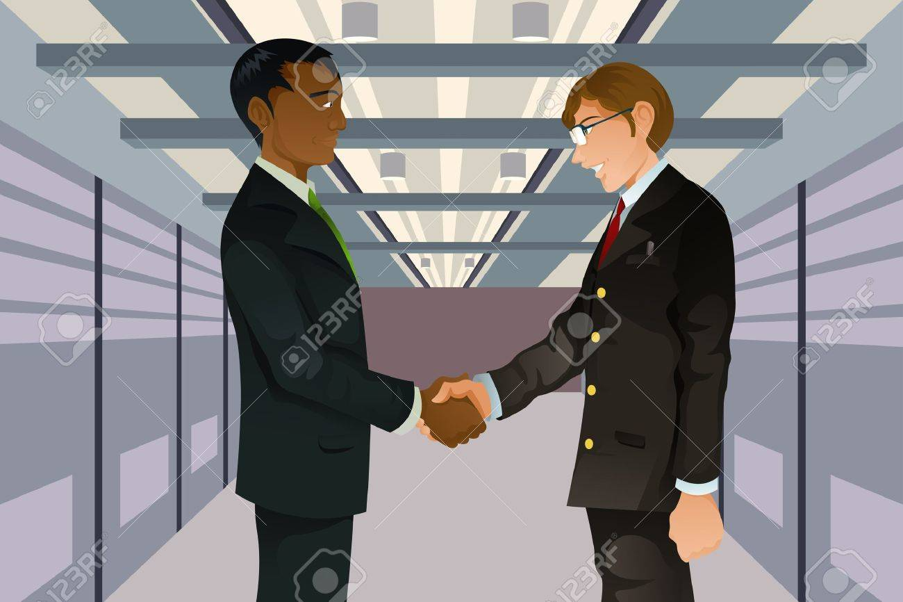 two businessmen shaking hands in a technology datacenter Stock Vector - 9537085
