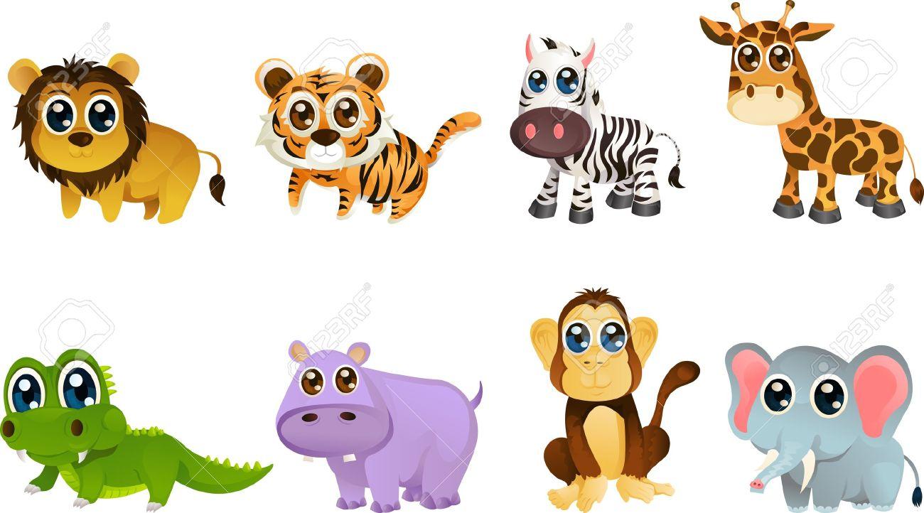 illustration of different wildlife animals cartoons Stock Vector - 9576362