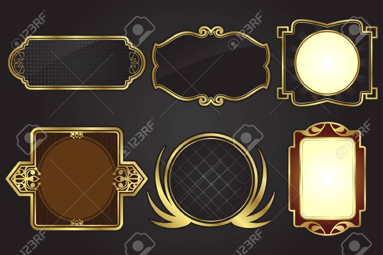 Illustration Of A Set Of Black And Gold Frames Royalty Free Cliparts