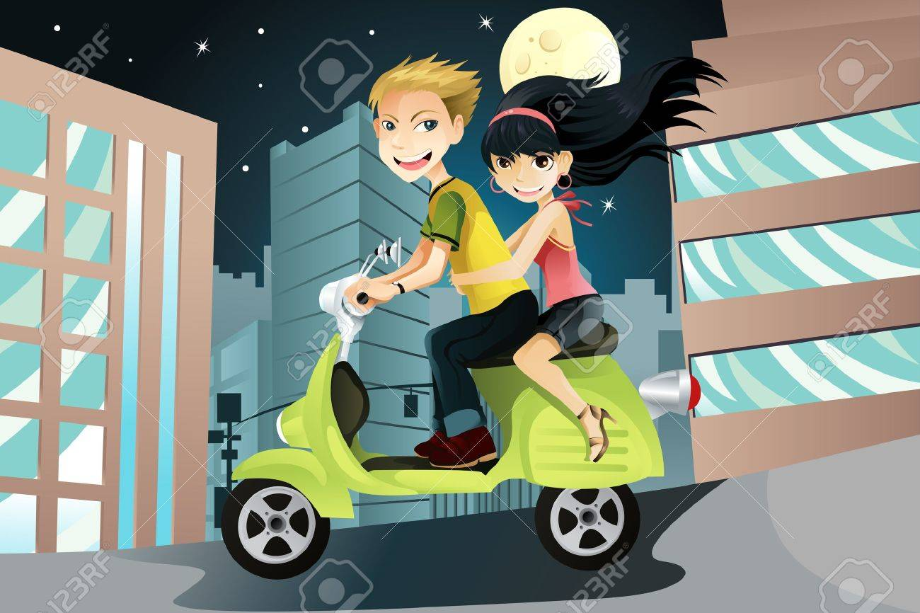A vector illustration of a couple riding a motorcycle in the city on an evening Stock Vector - 9819337