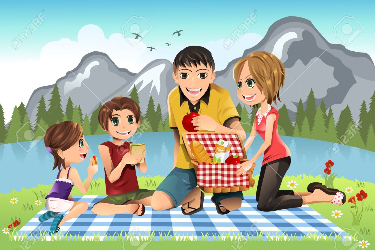 A illustration of a family having a picnic in a park Stock Vector - 9931371