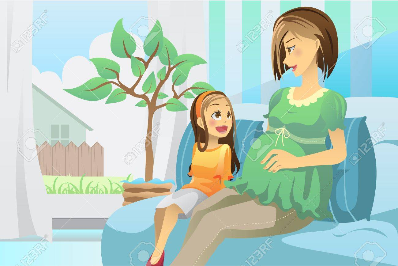 A illustration of a pregnant mother with her daughter in the living room Stock Vector - 9931369