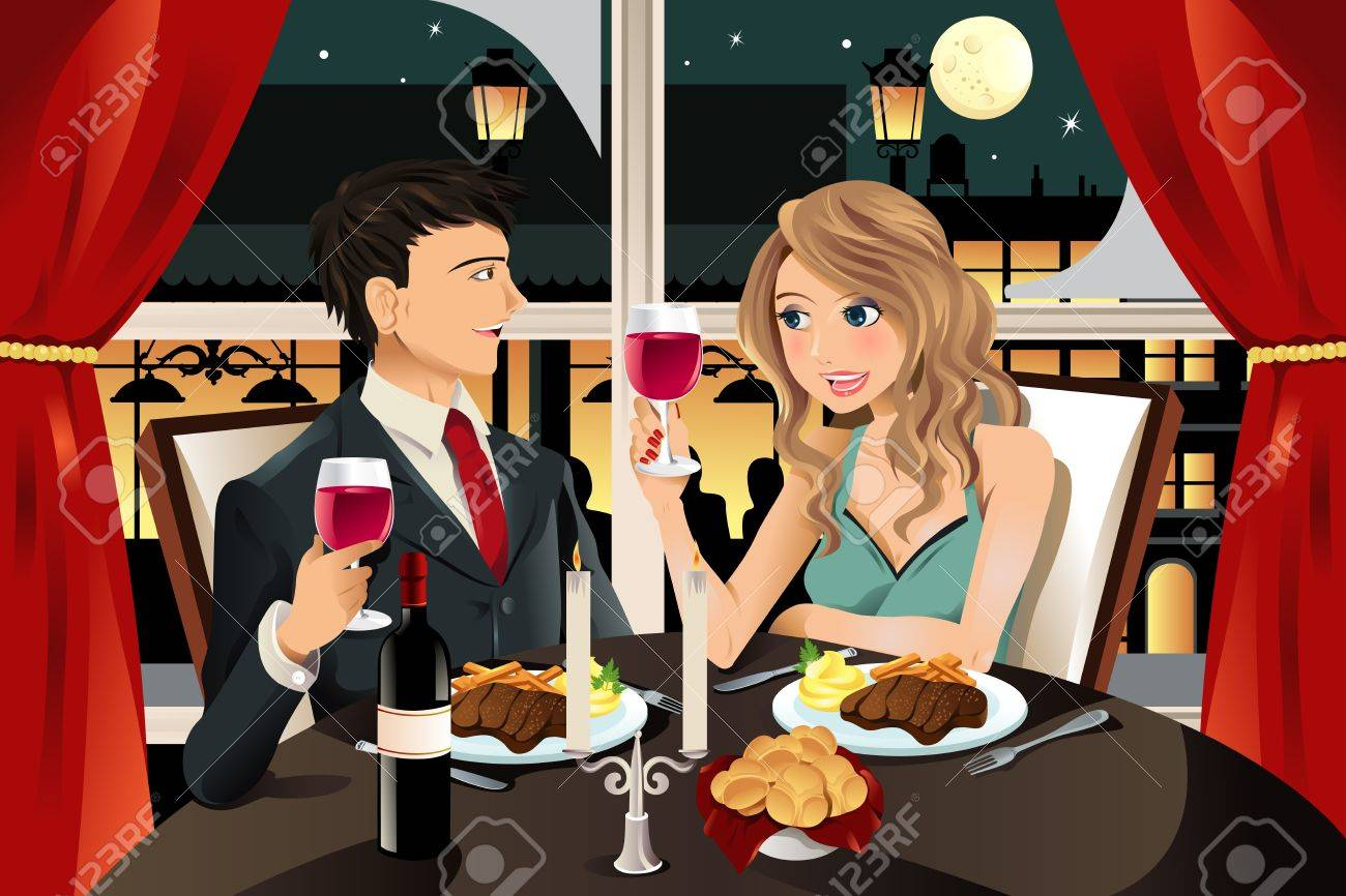 A vector illustration of a young couple having dinner at an upscale restaurant Stock Vector - 10043986
