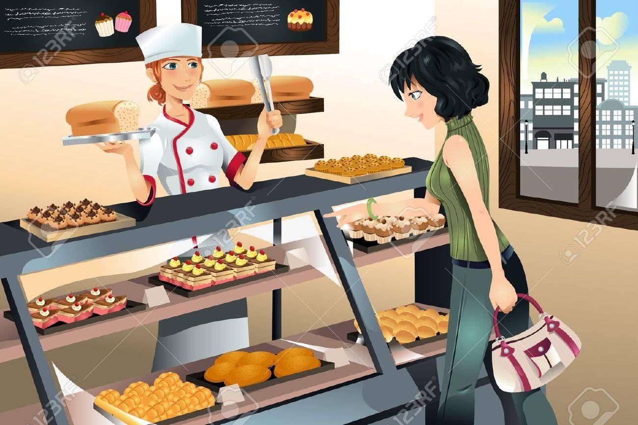 パン屋の店でケーキを買って女性のイラスト のイラスト素材 ベクタ Image