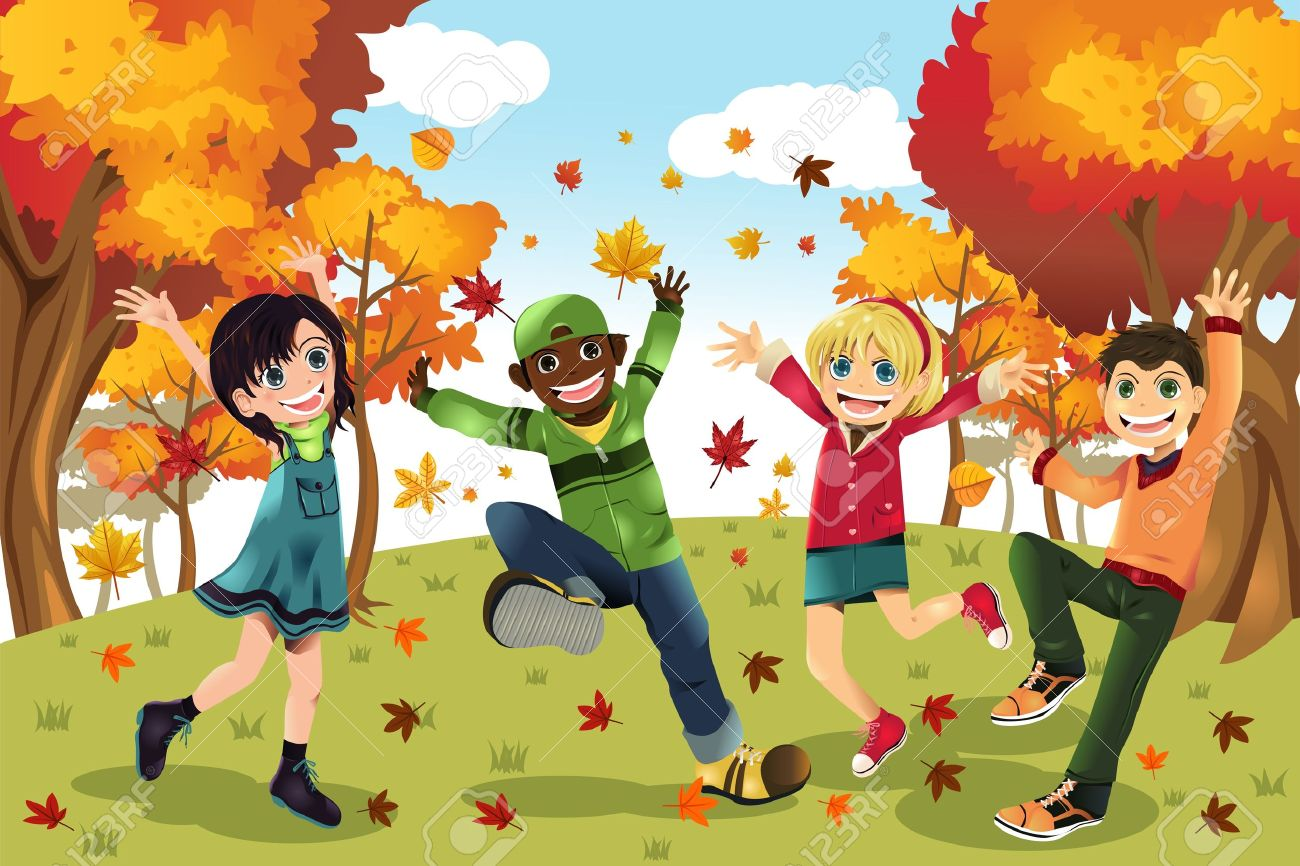 Illustration Of Kids Playing Outdoor During Autumn Or Fall Season Royalty Free Cliparts Vectors And Stock Illustration Image 10213616