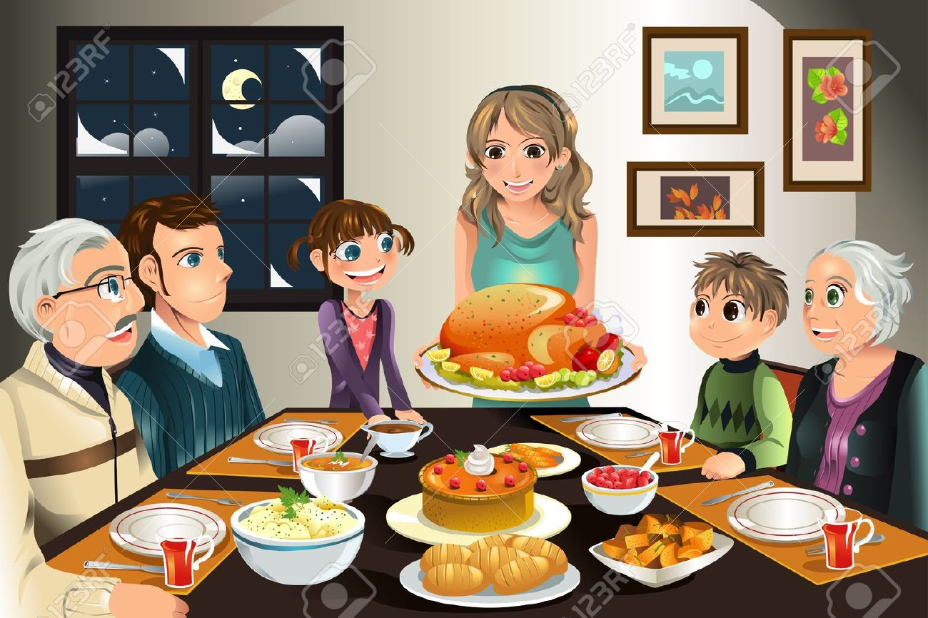 A illustration of a family having a Thanksgiving dinner together - 10360668