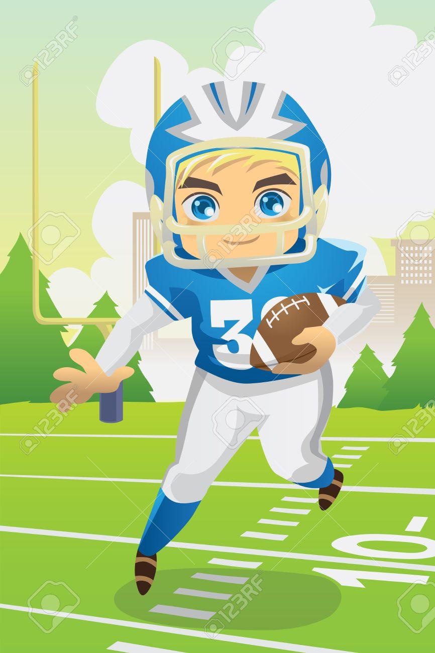 Una Ilustración De Un Niño Con Un Fútbol Americano Ilustraciones ...