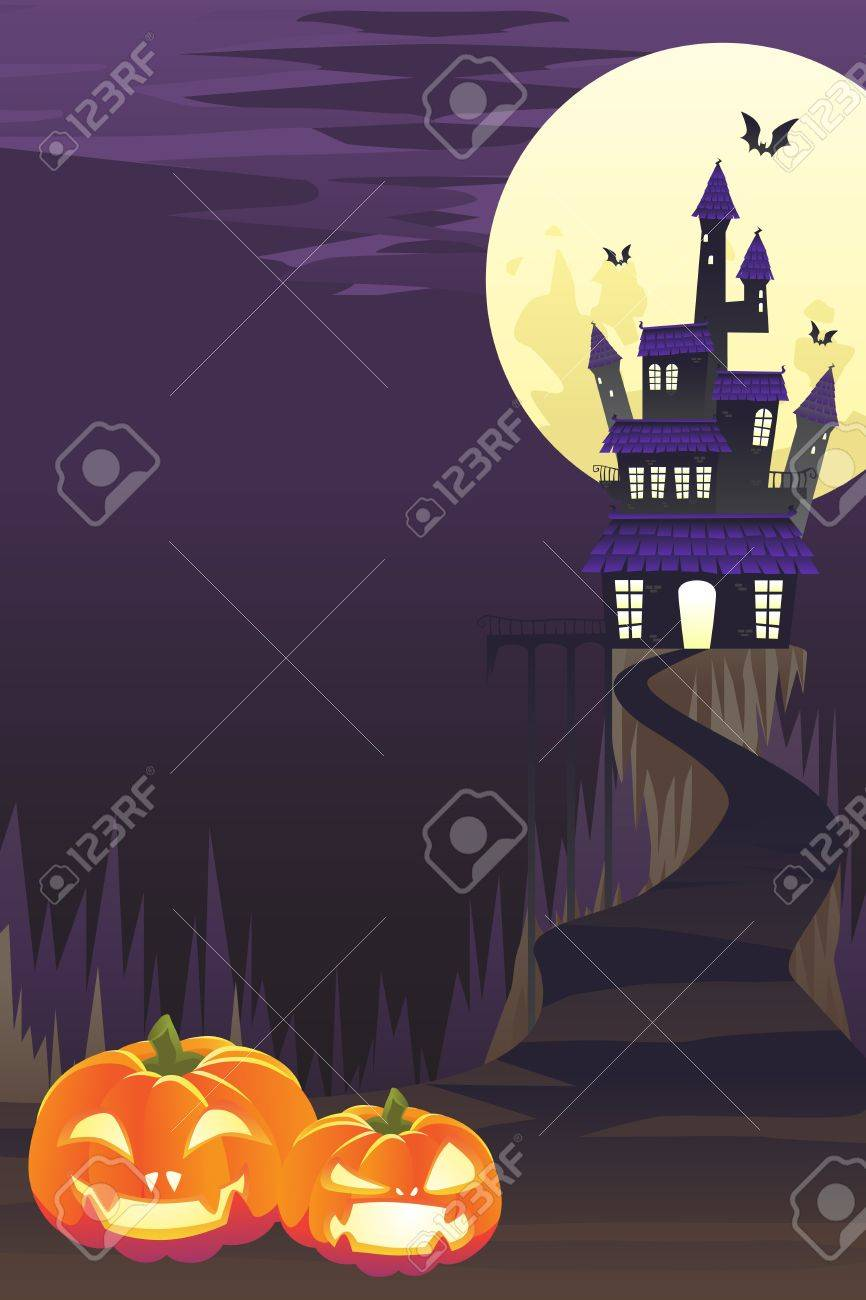 A illustration of Halloween background with pumpkins and spooky castle and flying bats Stock Vector - 10369921